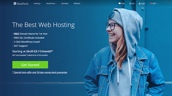 5 Best Hosting Companies - Bluehost HomePage