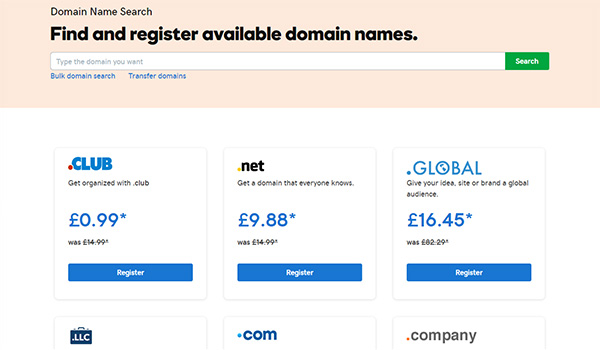 Domain Registrars - GoDaddy Page