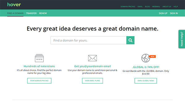 Domain Registrars - Hover Page