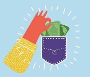 An image of a hand showing pocket full of money.
